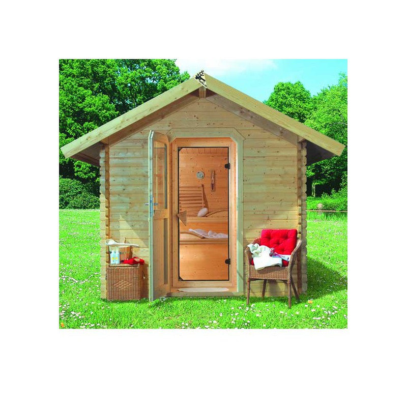 Sauna d 39 ext rieur chalet 2 5 6 places 38mm karibu for Sauna d exterieur