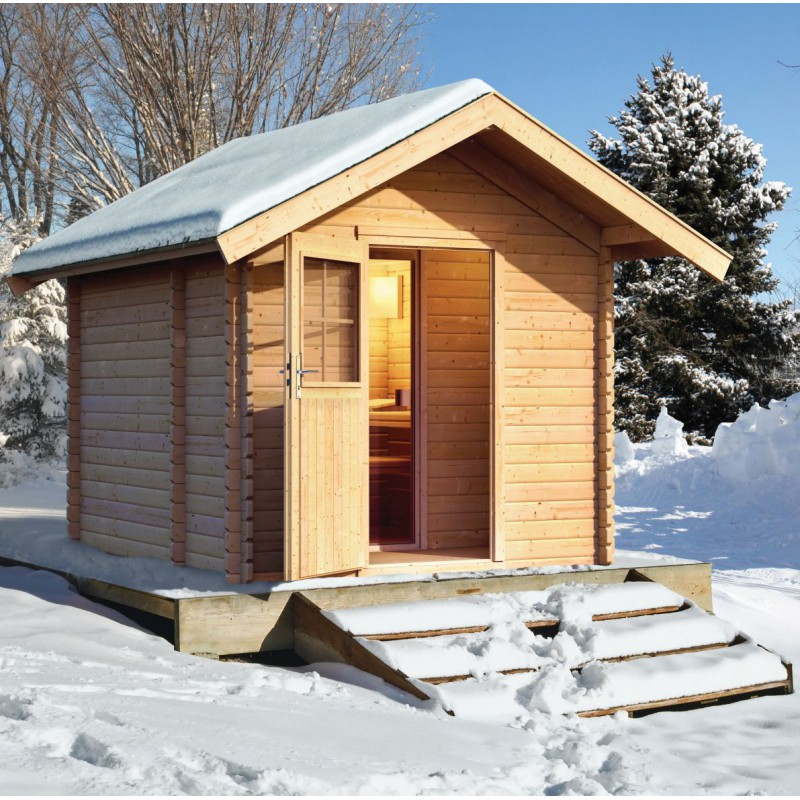 sauna d 39 ext rieur chalet 3 5 6 places avec grand vestibule 38mm karibu. Black Bedroom Furniture Sets. Home Design Ideas