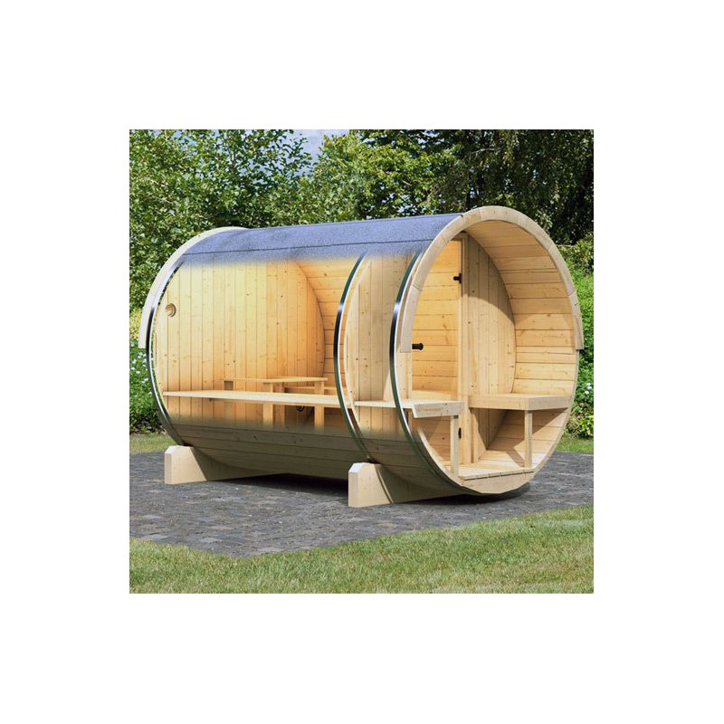 Sauna d 39 ext rieur tonneau 2 4 6 places en pic a for Sauna infrarouge exterieur