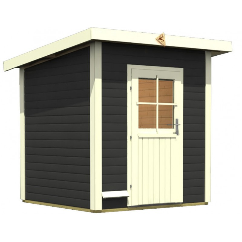 Sauna d 39 ext rieur torge anthracite 3 4 places 38mm karibu for Sauna d exterieur