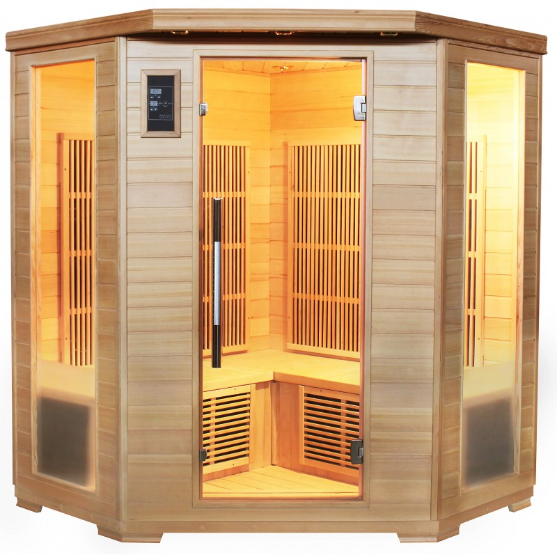 Sauna d 39 angle infrarouge 4 places panneaux carbone sn - Sauna infrarouge carbone ...