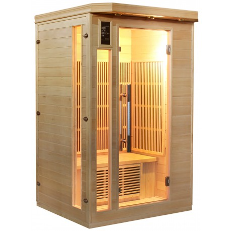 sauna infrarouge 2 places panneaux fibre de carbone sn. Black Bedroom Furniture Sets. Home Design Ideas