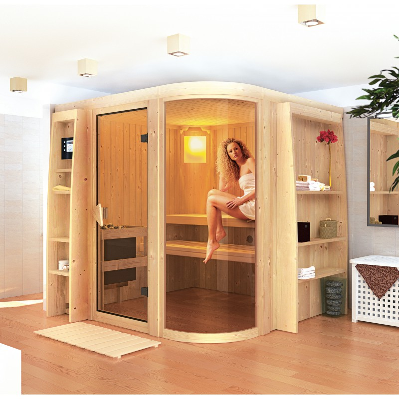 sauna traditionnel en bois 4 6 places parima 2 68mm karibu. Black Bedroom Furniture Sets. Home Design Ideas