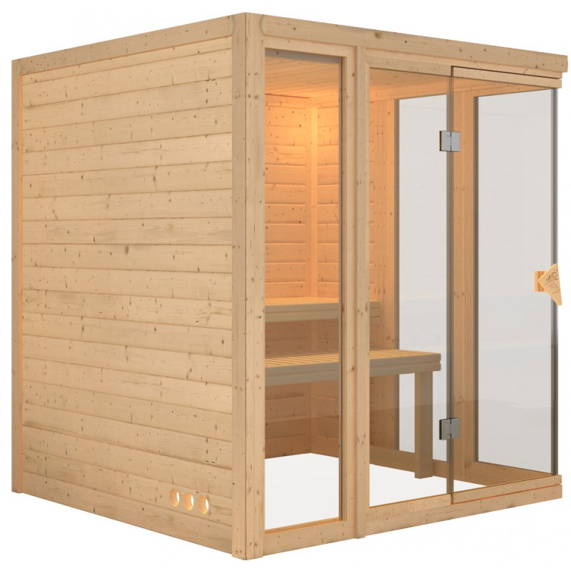 Sauna traditionnel d 39 int rieur paavo 4 5 places 40mm for Fabrication sauna interieur