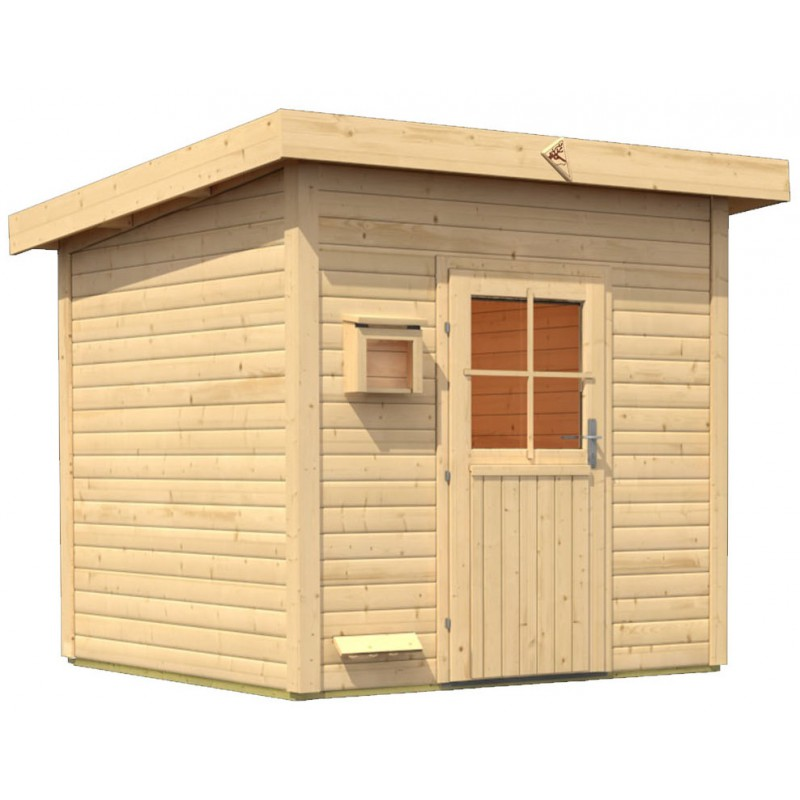 Sauna d ext rieur en bois kroge 6 8 places 38mm karibu for Sauna d exterieur