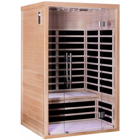 sauna infrarouge panneaux carbone 1840w luxe 2 places sn. Black Bedroom Furniture Sets. Home Design Ideas