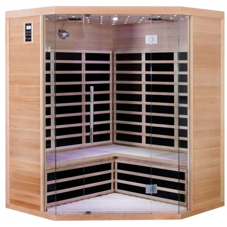 Sauna infrarouge d angle panneaux carbone 2850w luxe 3 4 - Sauna infrarouge carbone ...
