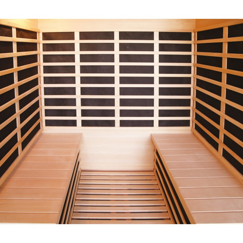 Sauna infrarouge panneaux carbone 3200w luxe 4 places sn - Sauna infrarouge carbone ...