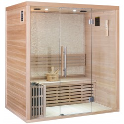 Sauna traditionnel LUXE 3 places SNÖ + poêle SAWO 4500W