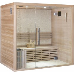 Sauna traditionnel LUXE 4 places SNÖ + poêle SAWO 8000W