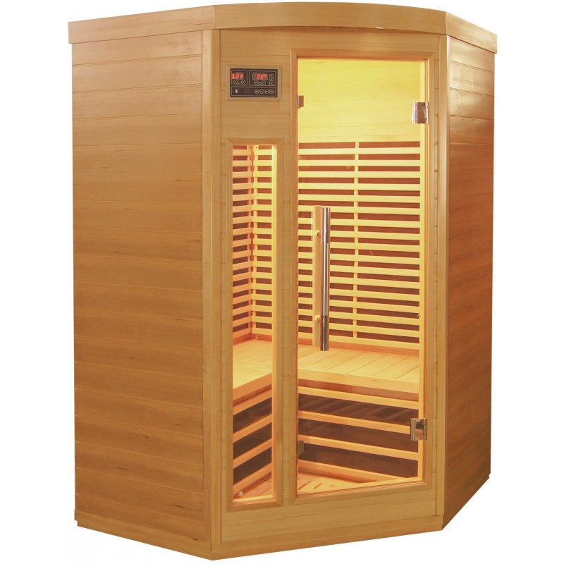 Sauna d angle infrarouge panneaux carbone 2150w 2 3 places - Sauna infrarouge carbone ...
