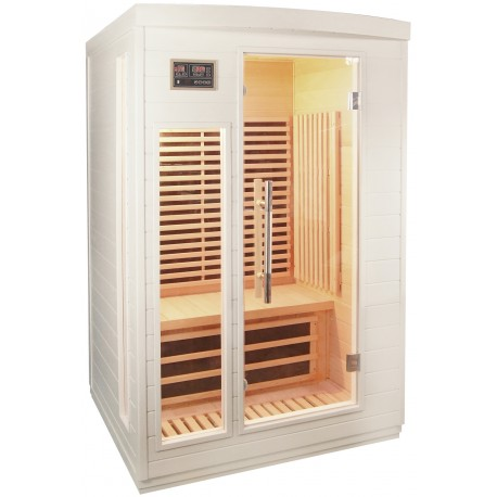 sauna infrarouge blanc panneaux carbone 2050w 2 places sn. Black Bedroom Furniture Sets. Home Design Ideas