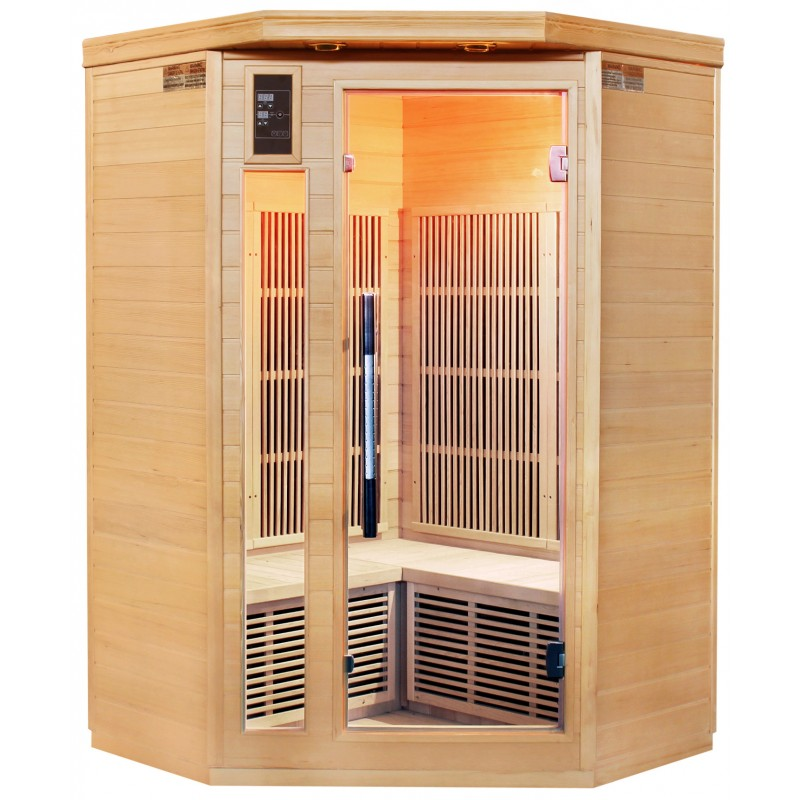 Sauna d 39 angle infrarouge panneaux carbone 1700w 2 3 places - Sauna infrarouge carbone ...