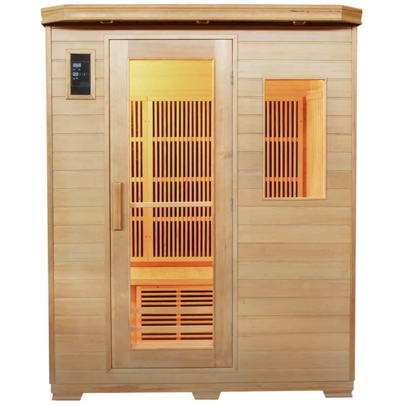 Sauna infrarouge panneaux fibre de carbone 1750w 3 places - Sauna infrarouge carbone ...