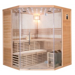 Sauna traditionnel d'angle LUXE 4-5 places SNÖ + poêle SAWO 8000W