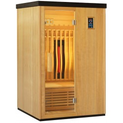 Sauna infrarouge chauffages carbone et full spectrum Vertical Black 2100W 2 places - SNÖ