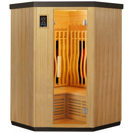 Sauna d'angle infrarouge chauffages carbone et full spectrum Vertical Black 2000W 2-3 places - SNÖ