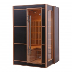 Sauna infrarouge LINEA BLACK 2-3 places panneaux carbone 2100W - Snö