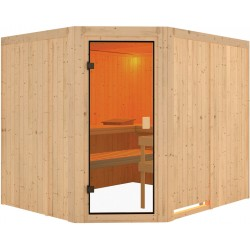 Sauna traditionnel d'angle Horna 6 à 8 places 68mm - Woodfeeling